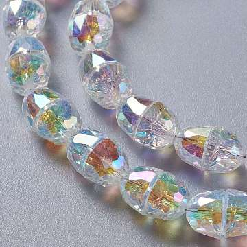 Glass Imitation Austrian Crystal Beads, Faceted Half Oval, Clear AB, 8x6.5mm, Hole: 1mm(GLAA-F108-04)
