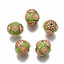 Yellow Green Round Polymer Clay Beads(IPDL-P003-12E)