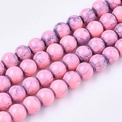 Spray Painted Glass Beads Strands, Round, PearlPink, 10mm; Hole: 1.3~1.6mm; about 80pcs/strand, 31.4inches(X-GLAD-S075-10mm-68)