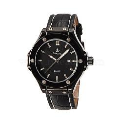 Высокое качество мужские из нержавеющей стали кожа кварцевые наручные часы, чёрные, 260x22 мм; голова часов : 56x54x13 мм; лицо часов : 34 мм(WACH-N032-09)