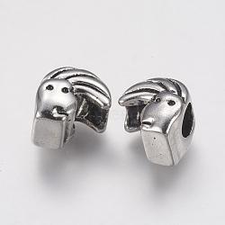 Supports de strass de perles européennes en 304 acier inoxydable, Perles avec un grand trou   , humaine, argent antique, 12x11x9mm, trou: 5 mm; apte à 1 mm strass(STAS-J022-007AS)