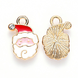 Alloy Enamel Pendants, with Crystal Rhinestone, for Christmas, Flat Back, Santa Claus, Light Gold, White, 17x12x2.5mm, Hole: 2mm