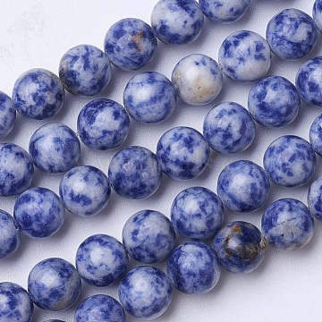 Natural Blue Spot Jasper Beads Strands, Round, 10mm, Hole: 1.2mm, about 39pcs/strand, 15.1 inches(G-D855-10-10mm)