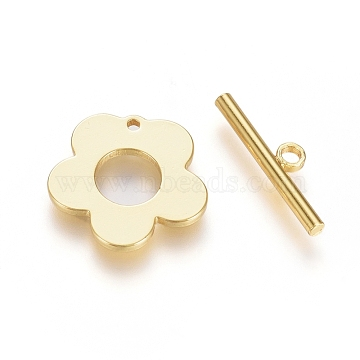 Brass Toggle Clasps, Long-Lasting Plated, Flower, Real 18K Gold Plated, Flower: 13x13.5x1mm, Hole: 1mm, Bar: 15x4x1.5mm, Hole: 1.4mm(X-KK-G389-27G)