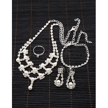 Iron Rhinestone Bridal Jewelry Sets: Necklaces, Bracelets, Earrings and Finger Rings, with Acrylic Pearl Beads and Plastic Ear Nuts/Earring Backs, Silver Color Plated, 16.1inches, 180mm, 17x31mm, 17mm(SJEW-K007-04S)