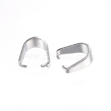 304 Stainless Steel Snap on Bails, Stainless Steel Color, 7x6x3mm, Inner Diameter: 6x5mm(STAS-D448-084P)