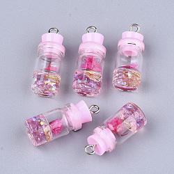 Décorations de bouteille en verre, avec résine strass et bouchon, fleur séchée et fer, platine, pearlpink, 26~27x9.5~10mm, Trou: 1.8mm(X-GLAA-S181-05E)
