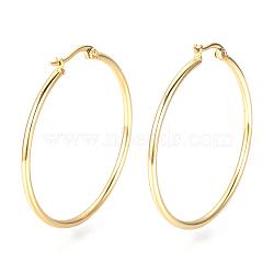 201 Stainless Steel Hoop Earrings, Golden, 12 Gauge, 21x20x2mm; Pin: 0.8mm(X-MAK-R018-20mm-G)