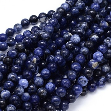 Round Natural Sodalite Beads Strands, 8mm, Hole: 1mm, about 49pcs/strand, 15.3 inches(X-G-F222-39-8mm)
