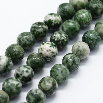 Natural Green Spot Jasper Beads Strands, Round, 4mm, Hole: 0.6mm; about 4mm, Hole: 0.6mm; about 85~88pcs/strand,  14.76 inches(37.5cm)(X-G-I199-30-4mm)