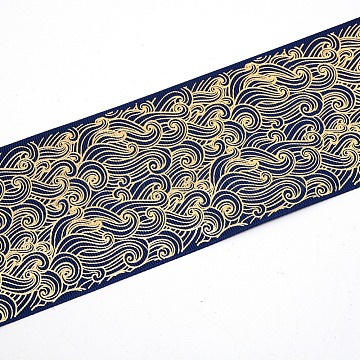 Polyester Grosgrain Ribbon, Gilding, Wave Pattern, Dark Blue, 3 inches(75mm)(OCOR-WH0033-67)