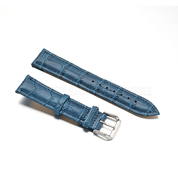 Leather Watch Bands, with 304 Stainless Steel Clasps, Steel Blue, 92~125x20x4.6~5mm(WACH-F017-04C)