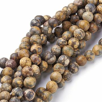 Natural Gemstone Leopard Skin Jasper Round Beads Strands, 3mm, Hole: 0.8mm; about 126pcs/strand, 16inches(G-A130-3mm-24)