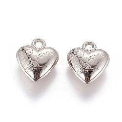 пластмассовые подвески ccb, сердце с цветком и словом любовь, на день Святого Валентина, платина, 21x18.5x7.5 mm, отверстия: 3 mm(CCB-J036-08P)