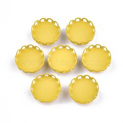 Paramètres de cabochon de glissière de fer environnementale peinte par pulvérisation d'environnement, pour bande de cheveux et décoration cravate, plat rond, or, plateau: 16 mm; 17x8.5 mm, Trou: 3.5x5mm(IFIN-T009-14A-05)