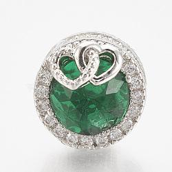 Perles européennes en laiton avec zircone cubique, Perles avec un grand trou   , plat et circulaire avec coeur, platine, seagreen, 12x14mm, Trou: 4.5mm(ZIRC-T006-35P-02)