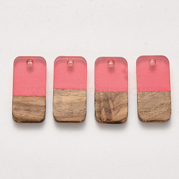 Two-tone Transparent Resin & Walnut Wood Pendants, Waxed, Rectangle, LightCoral, 20.5x10x3~4mm, Hole: 2mm(RESI-S384-008A-B04)