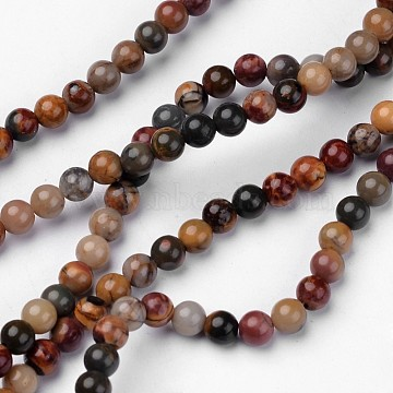 Natural Picasso Stone/Picasso Jasper Beads Strands, Round, 4mm, Hole: 1mm, about 93pcs/strand, 15.2 inches(G-D809-04-4mm)