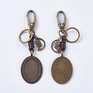 Alloy Cabochon Settings, Cadmium Free & Lead Free Keychain, Oval with Flower, Antique Bronze, Tray: 35x25mm; 124mm; 53x34x6mm(KEYC-E026-20AB)