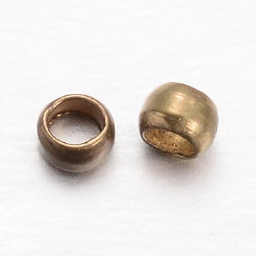 Rondelle Brass Crimp Beads, Antique Bronze, 2x1mm, Hole: 1mm; about 10000pcs/100g(KK-L134-27AB)