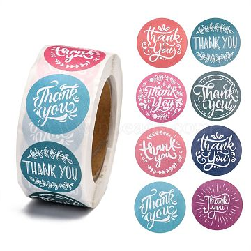 Thank You Self-Adhesive Paper Gift Tag Stickers, for Party, Decorative Presents, Flat Round, Word, 25mm, 500pcs/roll(X-DIY-E027-A-01)