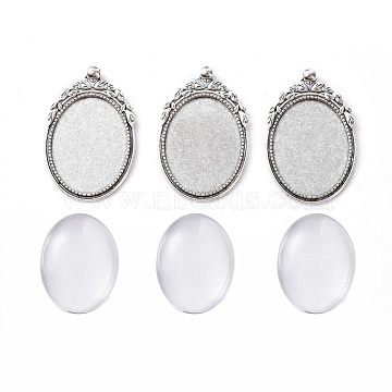 DIY Pendant Making, with Tibetan Style Alloy Pendant Cabochon Settings and Transparent Oval Glass Cabochons, Antique Silver, Cabochons: 40x30x7~9mm; Settings: 56x35x2mm, Hole: 4mm; 2pcs/set(DIY-X0293-44AS)