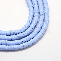 entretoises rondes plates et écologiques faites à la main, bleuet, 4x1 mm, trou: 1 mm, environ 380~400 pcs / brin, 17.7 pouces