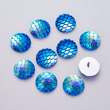Resin Cabochons, Flat Round with Mermaid Fish Scale, Royal Blue, 12x3mm(X-CRES-Q191-HA023-5)
