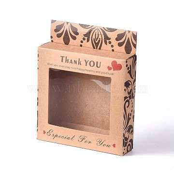 Kraft Paper Boxes, Clear Window Packaging Boxes, Rectangle with Word Thank You, BurlyWood, Box: 10x10cm, Unfold: 19.4x12.5x0.08cm(X-CON-D0002-01A)