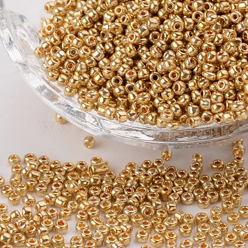 Electroplate Glass Seed Beads, Round Hole Rocailles, Gold Color, Size: about 2mm in diameter, 2mm thick, hole: 0.5mm, 3300pcs/50g(X-SEED-Q003-01)