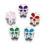 Mixed Color Butterfly Alloy+Enamel European Beads(MPDL-T005-004-RS)