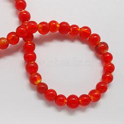 Perles en verre d'argent feuille manuelles, rond, rouge, 10mm, Trou: 1~2mm(X-FOIL-R054-10mm-6)