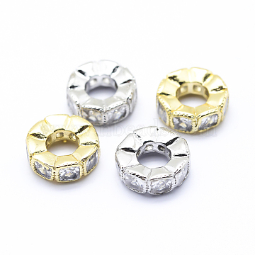 Brass Micro Pave Cubic Zirconia European Beads, Large Hole Beads, Flat Round, Mixed Color, 10x3.5mm, Hole: 4mm(ZIRC-L070-35)