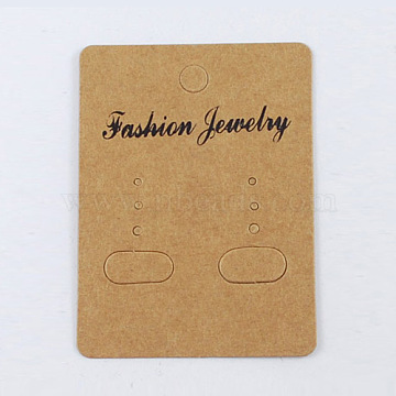 Paper Earring Display Card, Rectangle, Goldenrod, Size: about 67mm long, 50mm wide(X-BCOF-S001)