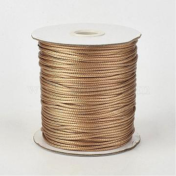 Eco-Friendly Korean Waxed Polyester Cord, BurlyWood, 1mm; about 200yards/roll(600 feet/roll)(182.88m/roll)(YC-P002-1mm-1117)
