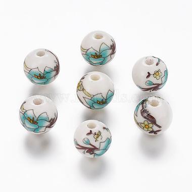 Perles rondes en céramique de porcelaine imprimées à la main(X-PORC-Q199-12mm-17)-1
