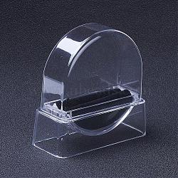 Écrans transparents en bannière en verre organique, Avec une éponge et un chiffon, plat rond, noir, 9.5x9.5x3.9 cm(BDIS-G005-03A)