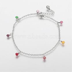 """Bracelets de cheville en 304 acier inoxydable avec pendentif, avec des charmes émaillés, plat rond, platine, colorées, 10-5/8"""" (270 mm); 2mm(AJEW-E032-01A)"""