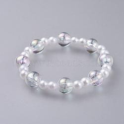 bracelets enfants stretch en acrylique imitation perle, avec des perles acryliques polystyrène transparentes, arrondir, effacer, 1-7 / 8 (4.7 cm)(BJEW-JB04575-01)