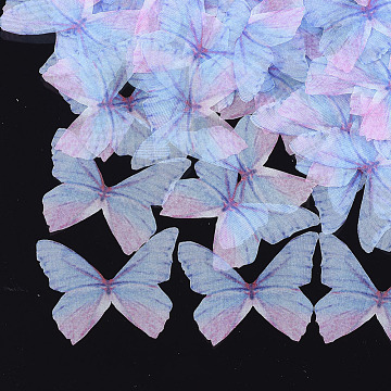 Organza Fabric, For DIY Jewelry Making Crafts, Butterfly, LightBlue, 41x48.5mm(FIND-S317-04)