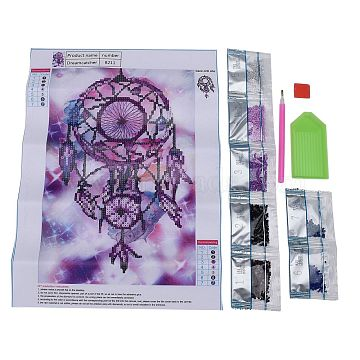 5D DIY Diamond Painting Canvas Kits For Kids, with Resin Rhinestones, Diamond Sticky Pen, Tray Plate and Glue Clay, Woven Net/Web with Feather, Mixed Color, 36x26cm(DIY-F059-01)
