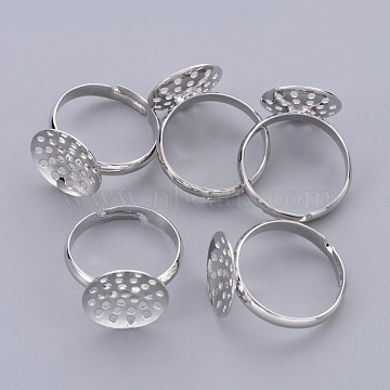 Brass Sieve Ring Bases, Adjustable, Lead Free, Cadmium Free and Nickel Free, Platinum Color, Ring: 17mm inner diameter, 3mm wide; Round Tray, 14mm in diameter(X-EC163-1NF)