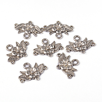 Tibetan Style Chandelier Component Links, Flower, Lead Free and Cadmium Free, Antique Silver Color, 32x23x3mm, Hole: 2mm(X-EA9731Y)