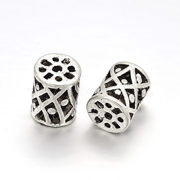 Tibetan Style Alloy Filigree Hollow Column Beads, Antique Silver, 13x10mm, Hole: 2mm(PALLOY-J577-03AS)