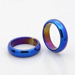 Galvanoplastie non magnétiques hématite synthétique larges anneaux de bande, bleu plaqué, 17mm(X-RJEW-J006A-01)