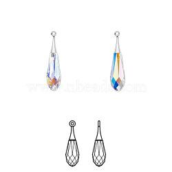 Cristal autrichien et rhodié, Focal, passions de cristal, Pendentif goutte pure facettes, 6532, 101 _crystal + ab, 44x10mm, Trou: 1.5mm(6532-44mm-101(R))