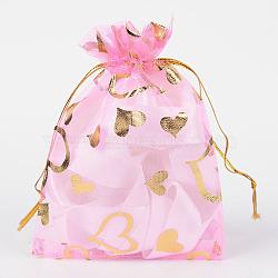 Sacs en organza imprimé cœur, sacs de faveur de mariage, sacs-cadeaux, rectangle, peachpuff, 12x10 cm(X-OP-R022-10x12-02)
