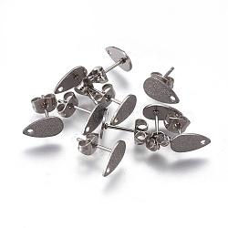 304 accessoires boucle d'oreille de goujon en acier inoxydable, goutte , couleur inoxydable, 10x6x0.7mm, trou: 1.2 mm; broches: 0.7 mm(STAS-O119-12B-P)