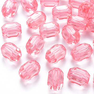 Transparent Acrylic Beads, Oval, Faceted, Pink, 14x10x10mm, Hole: 2mm, about 450pcs/500g(TACR-S154-24A-26)