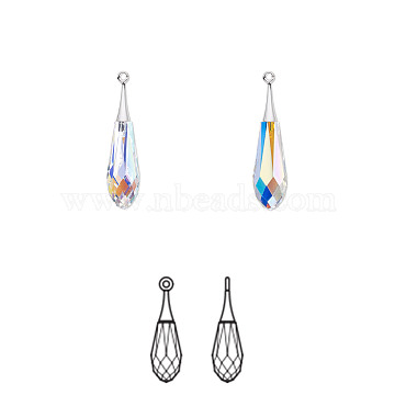 Austrian Crystal and Rhodium-plated, Focal, Crystal Passions, Faceted Pure Drop pendant, 6532, 101_Crystal+AB, 44x10mm, Hole: 1.5mm(6532-44mm-101(R))